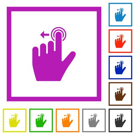 Right handed slide left gesture flat color icons in square frames on white background