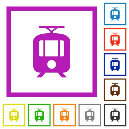 Tram flat color icons in square frames on white background Imagens