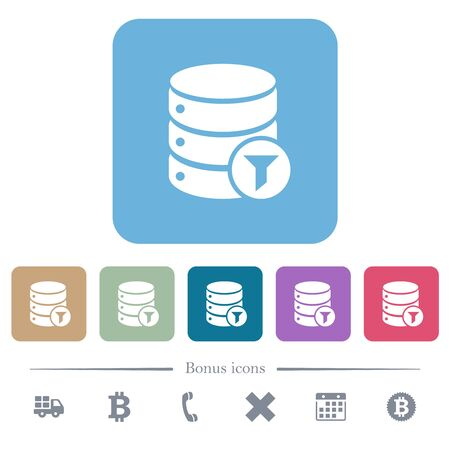 Database filter white flat icons on color rounded square backgrounds. 6 bonus icons included