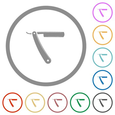 Straight razor flat color icons in round outlines on white background Imagens