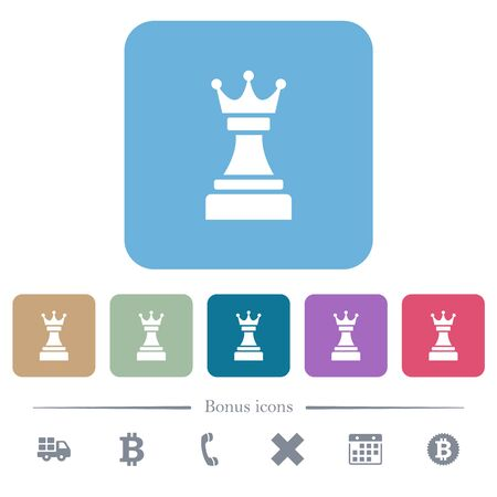 Black chess queen white flat icons on color rounded square backgrounds. 6 bonus icons included Stok Fotoğraf
