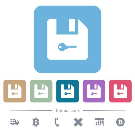 Encrypt file white flat icons on color rounded square backgrounds. 6 bonus icons included Stok Fotoğraf
