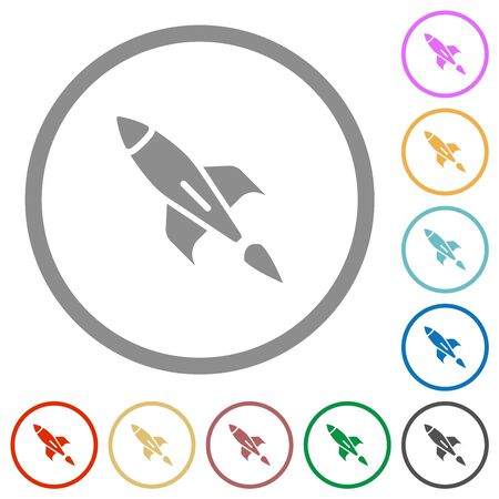 Rocket flat color icons in round outlines on white background