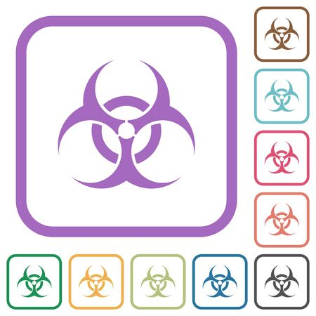 Biohazard sign simple icons in color rounded square frames on white background