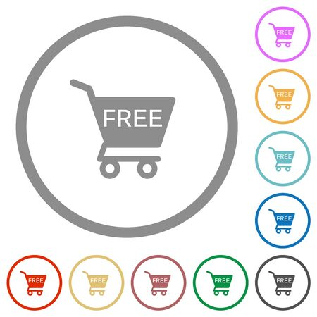 Free shopping cart flat color icons in round outlines on white background Imagens