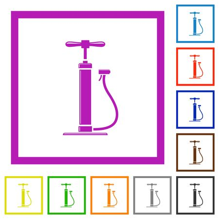 Air pump with gloss flat color icons in square frames on white background