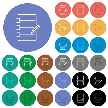Spiral notepad with pencil multi colored flat icons on round backgrounds. Included white, light and dark icon variations for hover and active status effects, and bonus shades. Imagens