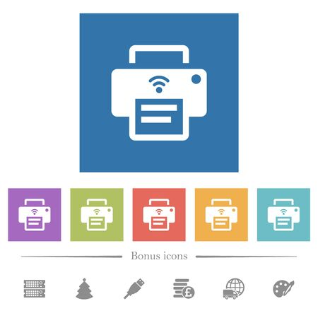 Wireless printer flat white icons in square backgrounds. 6 bonus icons included.