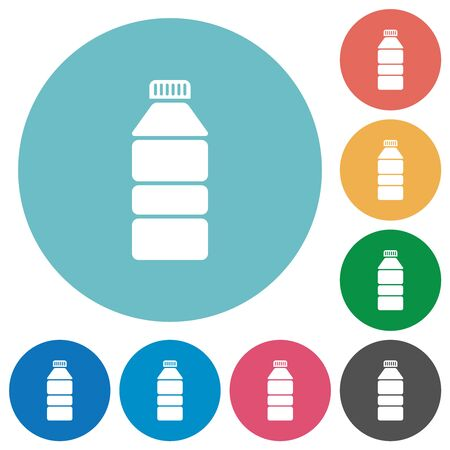 Water bottle flat white icons on round color backgrounds