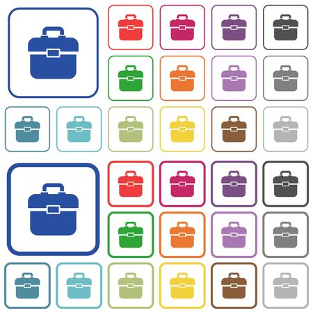 Toolbox color flat icons in rounded square frames. Thin and thick versions included.