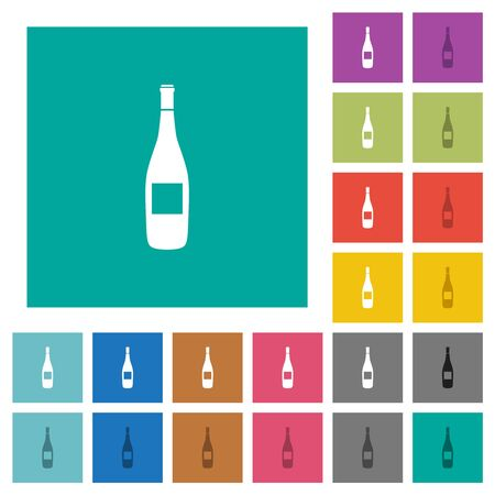Wine bottle with label multi colored flat icons on plain square backgrounds. Included white and darker icon variations for hover or active effects. Imagens