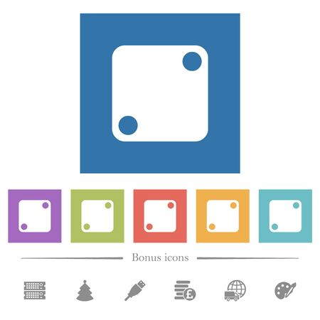 Domino two flat white icons in square backgrounds. 6 bonus icons included. Imagens