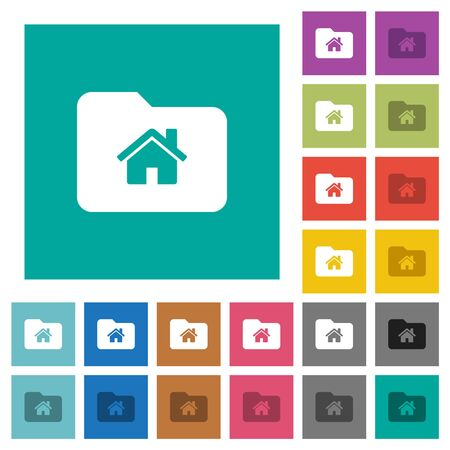 Home folder multi colored flat icons on plain square backgrounds. Included white and darker icon variations for hover or active effects.