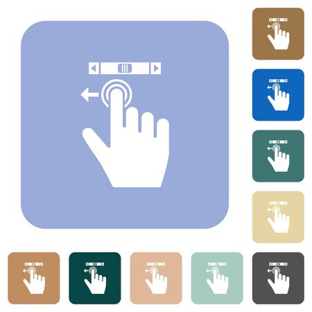 right handed scroll left gesture white flat icons on color rounded square backgrounds