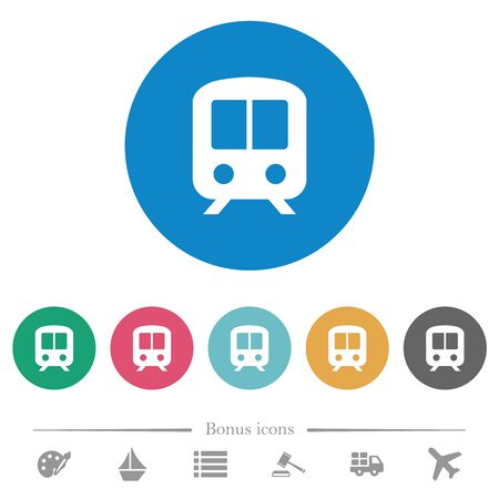 Train flat white icons on round color backgrounds. 6 bonus icons included. Imagens