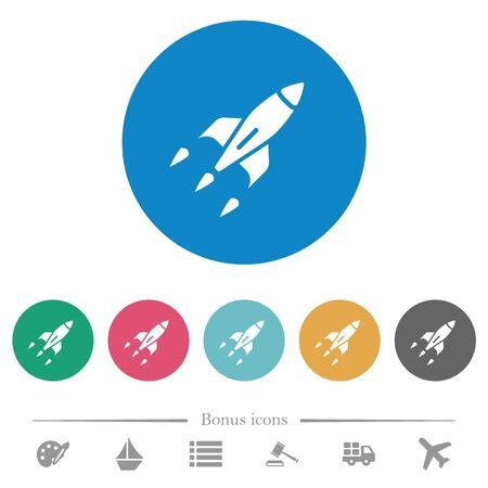 Rocket flat white icons on round color backgrounds. 6 bonus icons included.