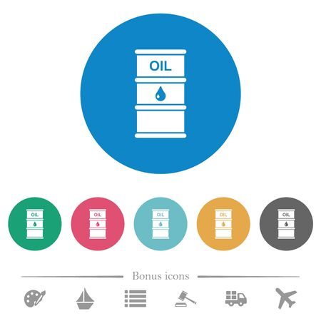 Oil barrel flat white icons on round color backgrounds. 6 bonus icons included. Imagens