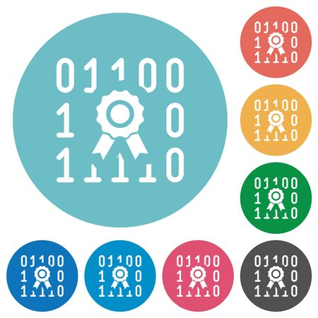 Digital certificate flat white icons on round color backgrounds Imagens