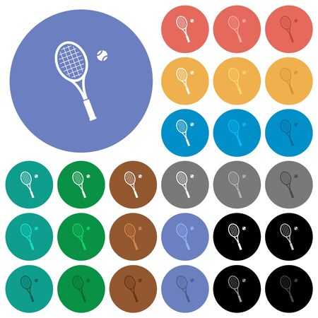 Tennis racket with ball multi colored flat icons on round backgrounds. Included white, light and dark icon variations for hover and active status effects, and bonus shades. Imagens