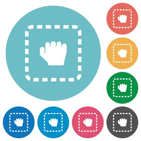 Drag item flat white icons on round color backgrounds Imagens