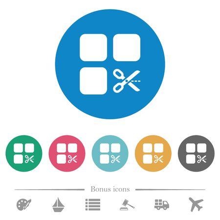 Tagliare le icone bianche piatte dei componenti su sfondi di colore rotondi. 6 icone bonus incluse. Archivio Fotografico