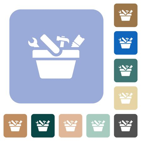 Toolbox white flat icons on color rounded square backgrounds