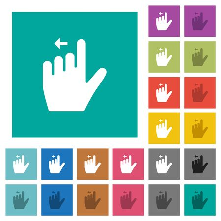 Left handed move left gesture multi colored flat icons on plain square backgrounds. Included white and darker icon variations for hover or active effects.