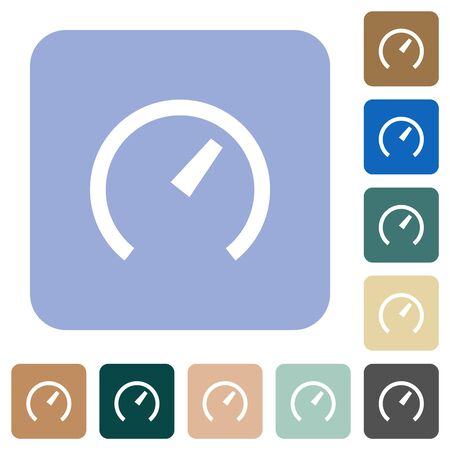 Speedometer white flat icons on color rounded square backgrounds