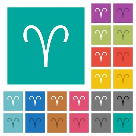 Aries zodiac symbol multi colored flat icons on plain square backgrounds. Included white and darker icon variations for hover or active effects. Imagens