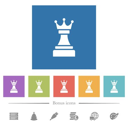 Black chess queen flat white icons in square backgrounds. 6 bonus icons included. Imagens