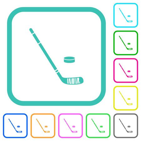 Hockey stick and puck vivid colored flat icons in curved borders on white background