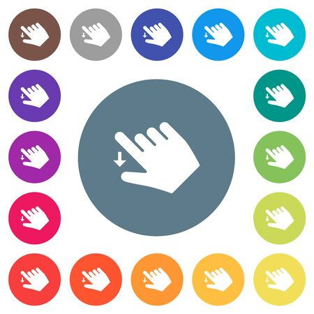 Right handed move down gesture flat white icons on round color backgrounds. 17 background color variations are included.