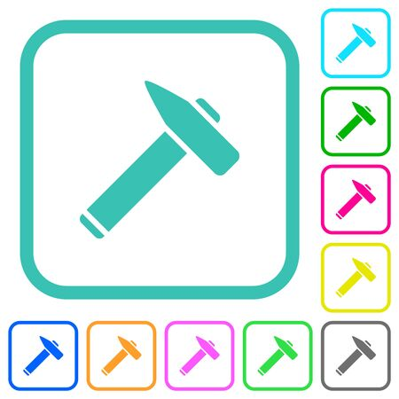 Old hammer vivid colored flat icons in curved borders on white background