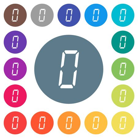 digital number zero of seven segment type flat white icons on round color backgrounds. 17 background color variations are included.