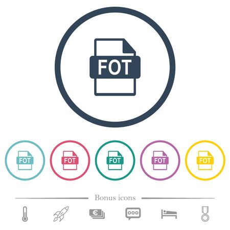 FOT file format flat color icons in round outlines. 6 bonus icons included.