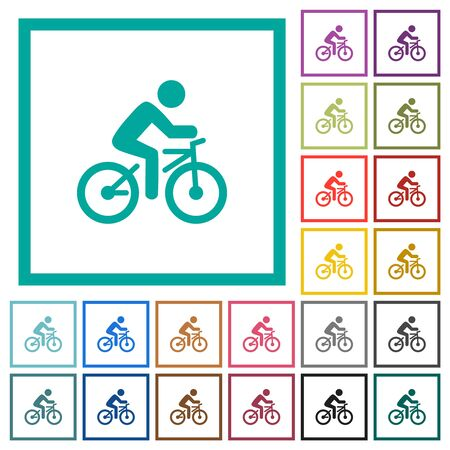 Bicycle with rider flat color icons with quadrant frames on white background