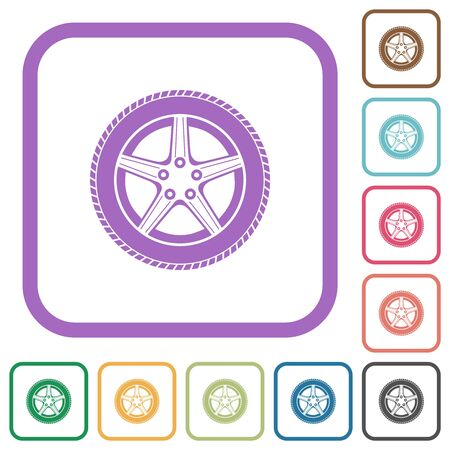 Car wheel simple icons in color rounded square frames on white background