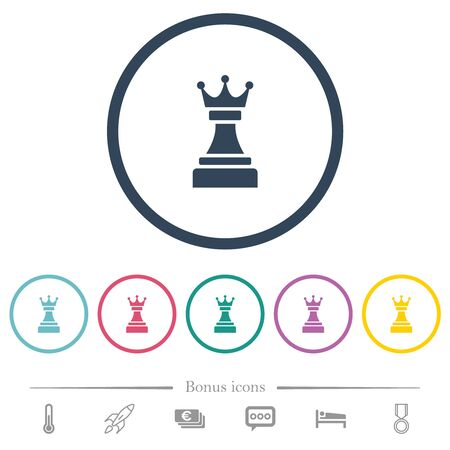 Black chess queen flat color icons in round outlines. 6 bonus icons included. Imagens