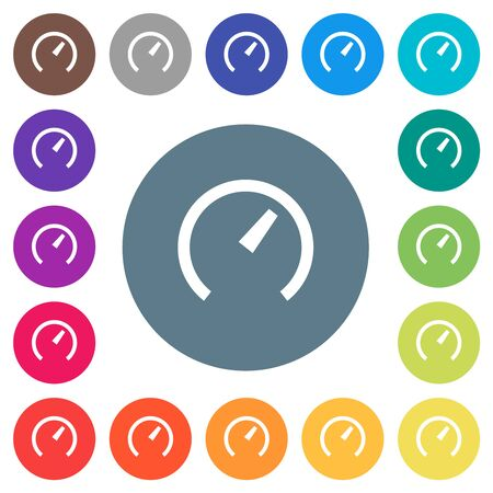 Speedometer flat white icons on round color backgrounds. 17 background color variations are included.