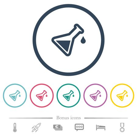 Experiment flat color icons in round outlines. 6 bonus icons included. Imagens