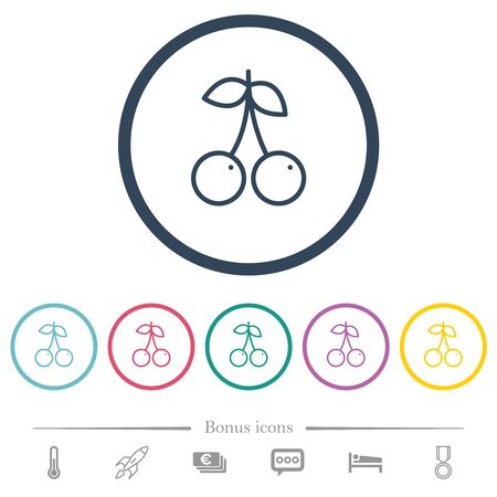 Pair of cherry flat color icons in round outlines. 6 bonus icons included. Imagens