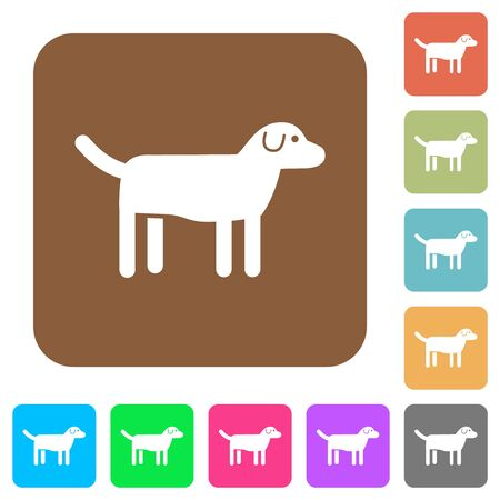 Dog flat icons on rounded square vivid color backgrounds. Stock Photo