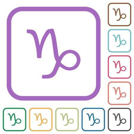 Capricorn zodiac symbol simple icons in color rounded square frames on white background