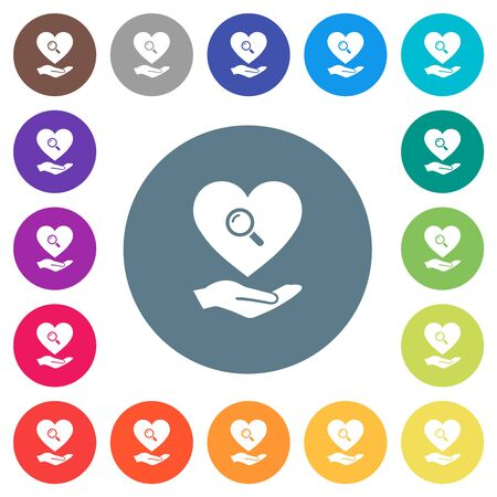 Dating service flat white icons on round color backgrounds. 17 background color variations are included.