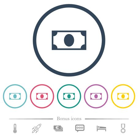Single banknote flat color icons in round outlines. 6 bonus icons included.