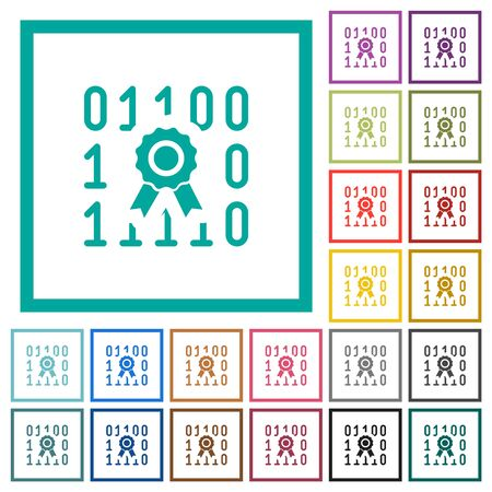 Digital certificate flat color icons with quadrant frames on white background