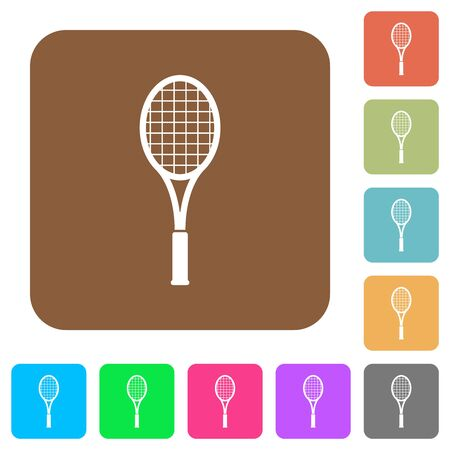 Single tennis racket flat icons on rounded square vivid color backgrounds.