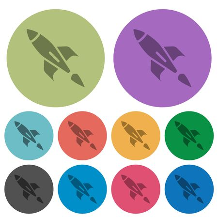 Rocket darker flat icons on color round background Ilustrace