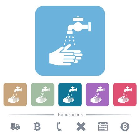 Hand washing white flat icons on color rounded square backgrounds. 6 bonus icons included