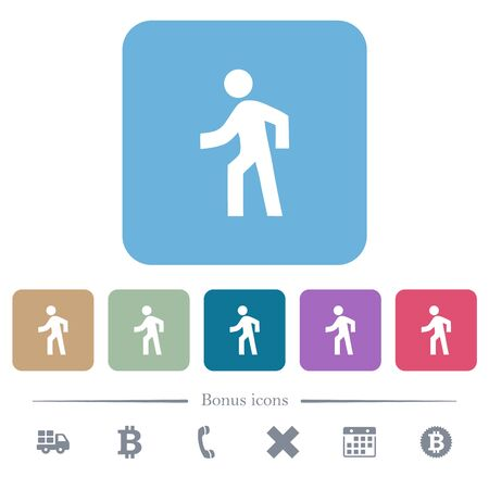 Man walking left white flat icons on color rounded square backgrounds. 6 bonus icons included